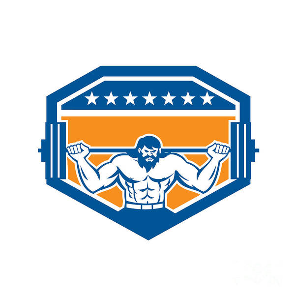 Powerlifting Digital Art - Bodybuilder Lifting Barbell Shield Retro by Aloysius Patrimonio