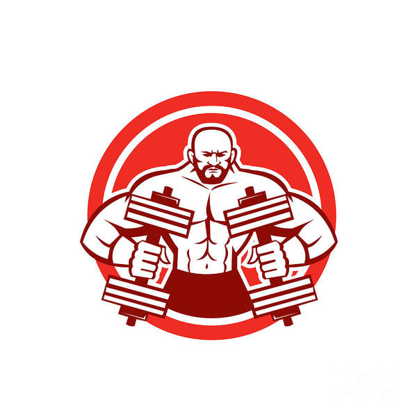 Powerlifting Digital Art - Bodybuilder Lifting Dumbbell Circle Retro by Aloysius Patrimonio