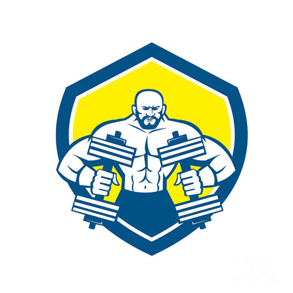 Powerlifting Digital Art - Bodybuilder Lifting Dumbbell Shield Retro by Aloysius Patrimonio