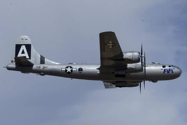 Superfortress Photograph - Boeing B-29 Superfortress N529b Fifi In Flight Deer Valley Airport Arizona February 26 2015 by Brian Lockett