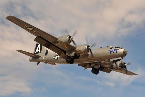 Superfortress Photograph - Boeing B-29 Superfortress N529b Fifi Landing Deer Valley Airport Arizona February 26 2015 by Brian Lockett