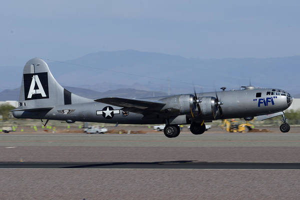 Superfortress Photograph - Boeing B-29 Superfortress N529b Fifi Take-off Deer Valley Airport Arizona February 26 2015 by Brian Lockett