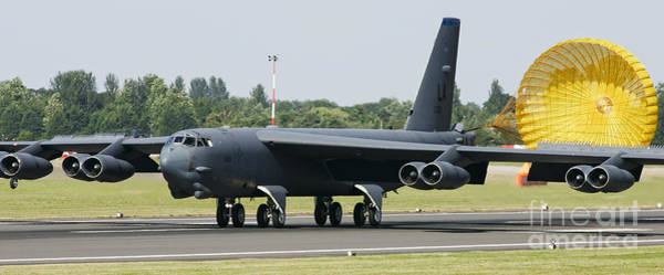 Wall Art - Photograph - Boeing B-52 Stratofortress Landing Home Safe With Drogue Parachute From 20th Bomb Squadron by Joe Fox