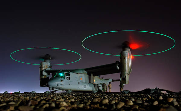 Wall Art - Photograph - Boeing Bell V 22 Osprey Refueling Before Night Mission In Central Iraq by Joe Kane - L Brown