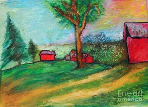 Drawing - Boerjan's Farm by Jon Kittleson
