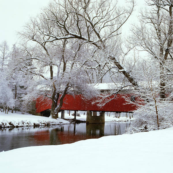 Wall Art - Photograph - Bogarts Bridge Red Covered Bridge by Vintage Images
