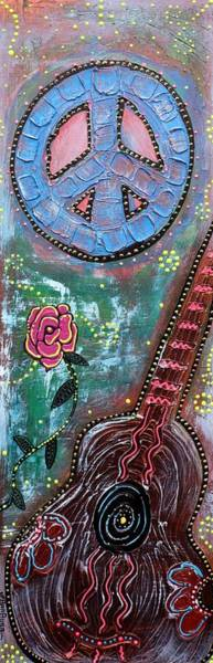 Wall Art - Painting - Bohemian Peace Guitar by Laura Barbosa