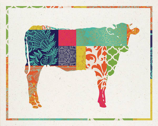 Farm Painting - Boho Cow by Tammy Apple