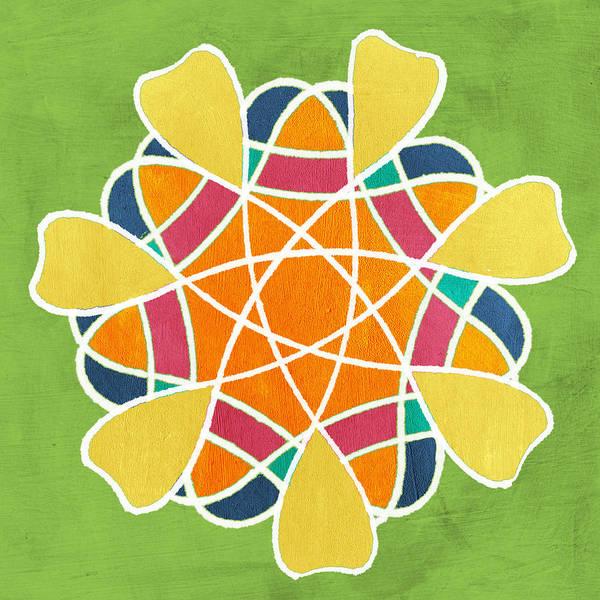 Flower Pattern Painting - Boho Mandala On Green by Linda Woods