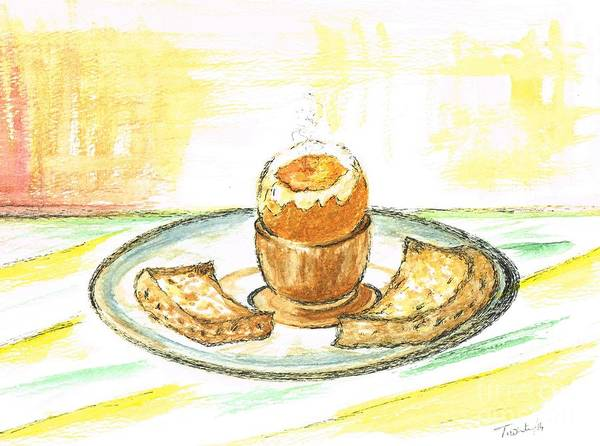 Protein Painting - Boiled Egg And Toast For Breakfast by Teresa White