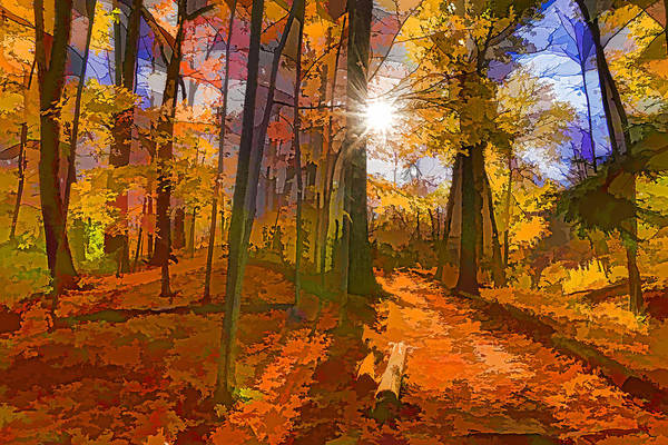 Digital Art - Bold And Colorful Autumn Forest Impression by Georgia Mizuleva