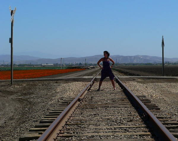 Photograph - Bold Woman Railroad Tracks by Jeff Lowe
