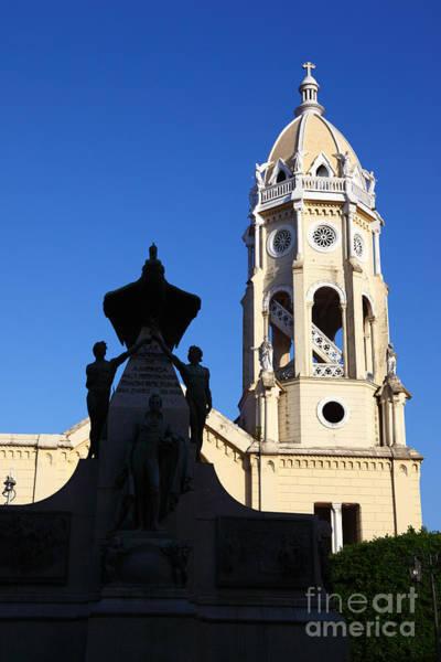 Photograph - Bolivar Monument And San Francisco Church Panama City by James Brunker