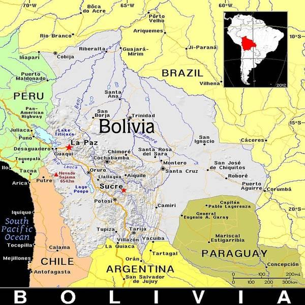 Bolivia Mixed Media - Bolivia Exotic Map by Florene Welebny