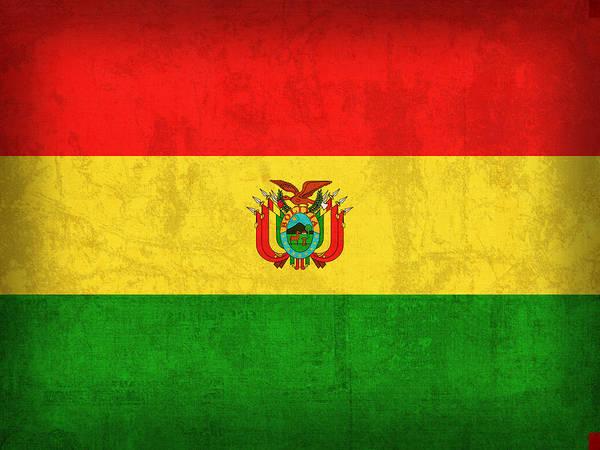 Bolivia Mixed Media - Bolivia Flag Vintage Distressed Finish by Design Turnpike