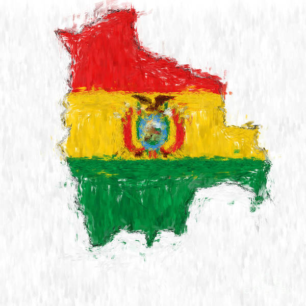 Bolivia Painting - Bolivia Painted Flag Map by Antony McAulay