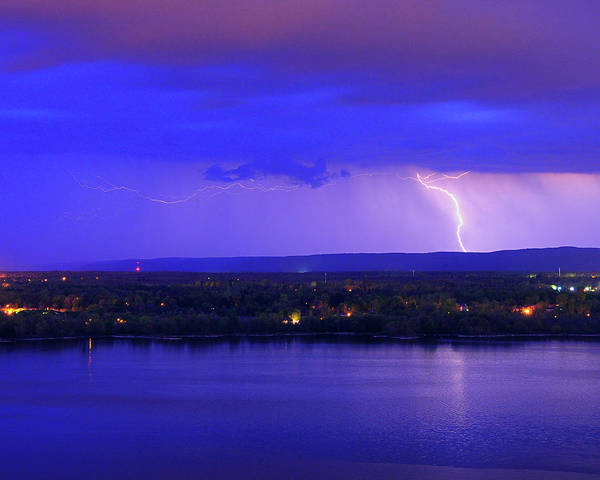 Photograph - Bolt Over Gatineau Hills  by Tony Beck