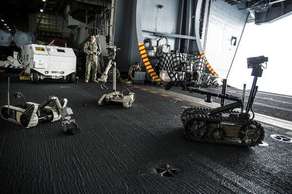 Uss George Washington Wall Art - Photograph - Bomb Disposal Robot Training by Stocktrek Images