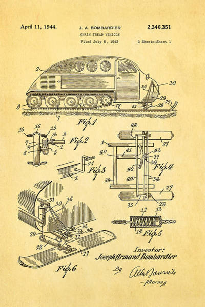 Inventor Photograph - Bombardier Chain Tread Vehicle Patent Art 1944 by Ian Monk