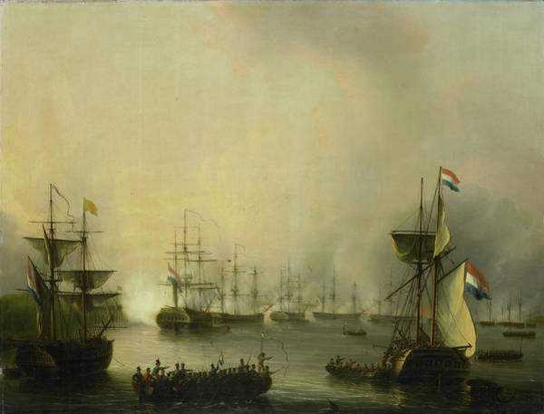 Wall Art - Drawing - Bombardment Of Palembang, Sumatra, By The Dutch Fleet by Litz Collection