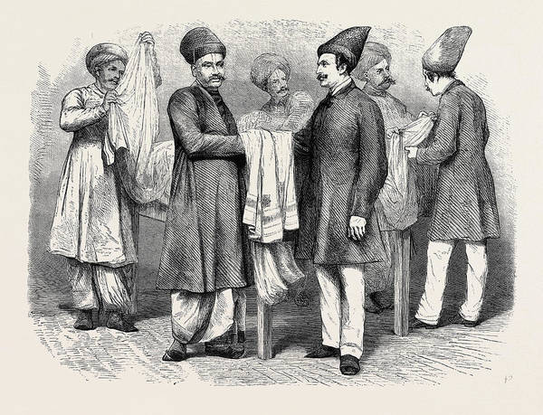 Bystander Drawing - Bombay Brokers And Traders A Brokers Room Of An English by English School