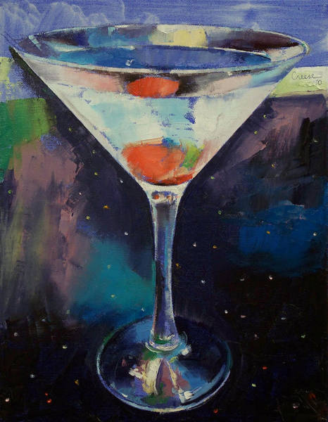 Martini Glasses Painting - Bombay Sapphire Martini by Michael Creese