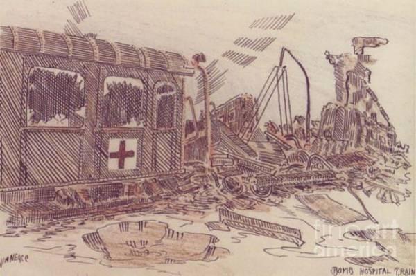 Drawing - Bombed Hospital Train Ww II by David Neace