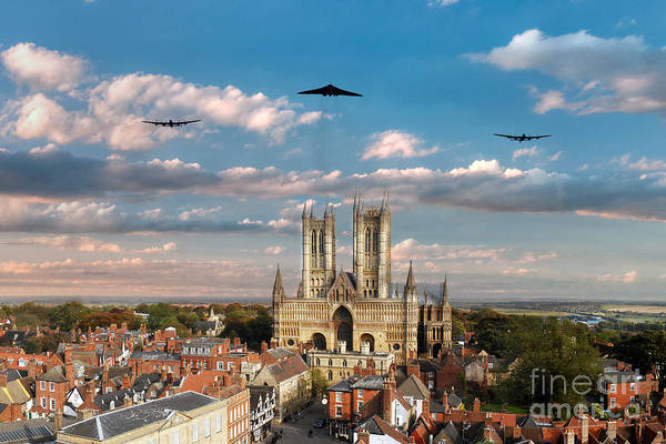 Avro Vulcan Wall Art - Digital Art - Bombers Over Lincoln  by J Biggadike