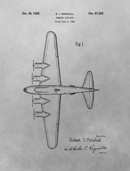 Vintage Airplane Drawing - Bombing Aircraft Patent Drawing by Dan Sproul