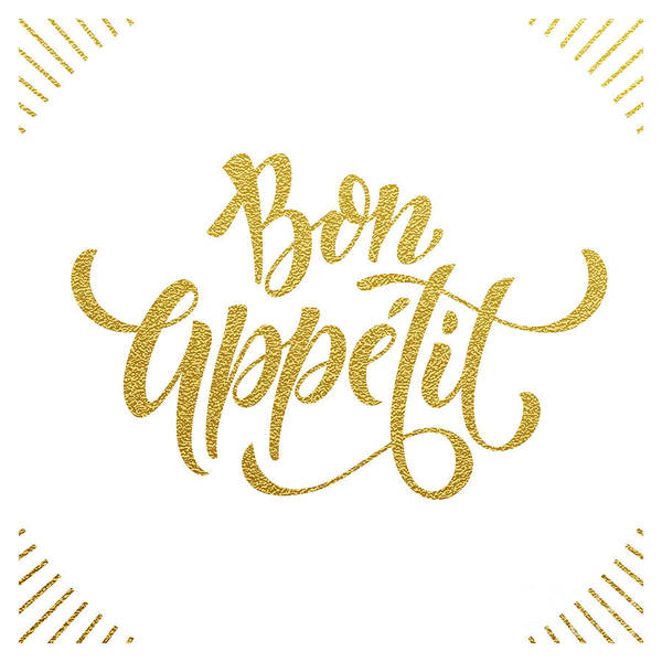 Golden Digital Art - Bon Appetit Text.  Gold Text On White by Ron Dale