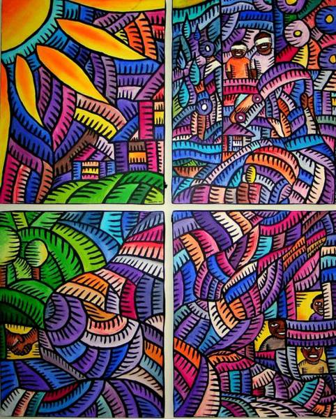 Painting - Bonding 2007 by Marconi Calindas
