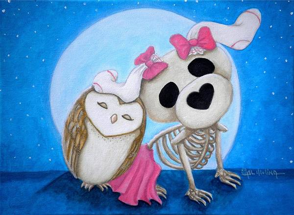 Wall Art - Painting - Bones And Mo Best Friends by Al  Molina