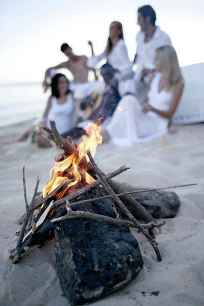 Logs Photograph - Bonfire On A Beach by Ian Hooton/science Photo Library