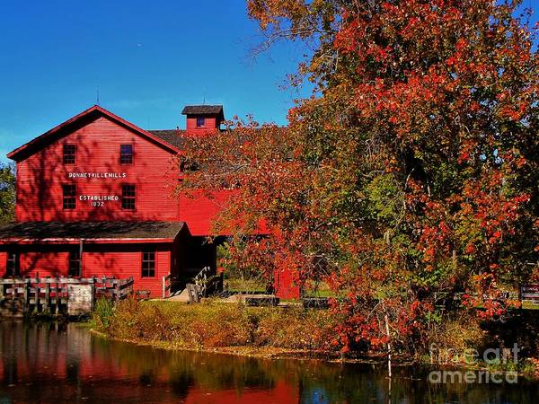 Bonneyville Grist Mill And Tree Art Print