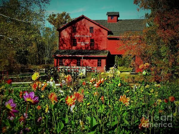 Bonneyville Grist Mill From Dahlia Garden Art Print