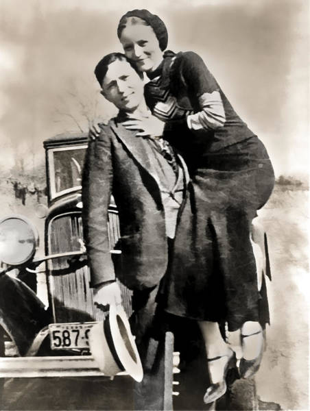 Robbers Photograph - Bonnie And Clyde - Texas by Daniel Hagerman