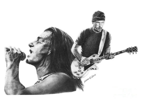 Drawing - Bono And The Edge by Marianne NANA Betts