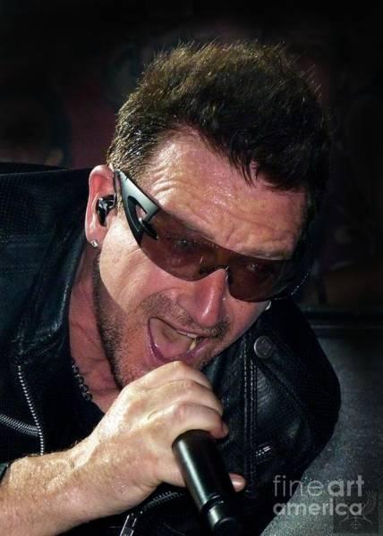 U2 Photograph - Bono Zoom Shot by Dale Crum