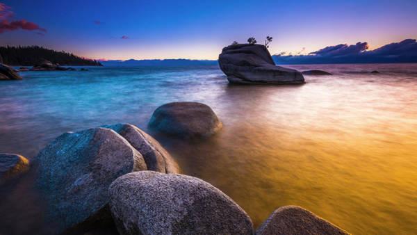Bishop Photograph - Bonsai Rock At Sunset, Lake Tahoe by Russ Bishop
