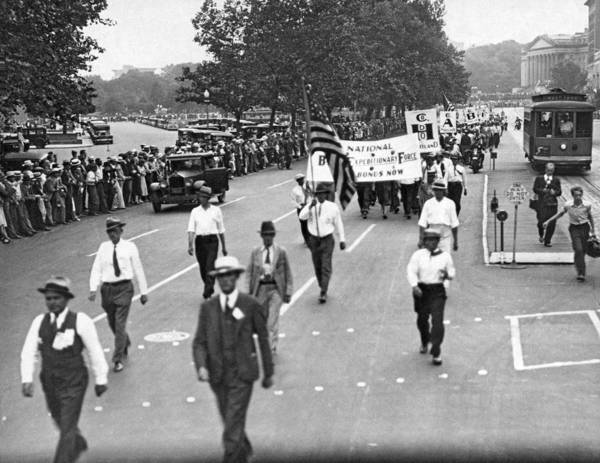 Photograph - Bonus Army Parade In Dc by Underwood Archives