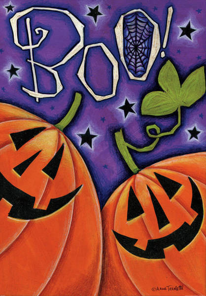Boo Wall Art - Painting - Boo Pumpkins by Anne Tavoletti