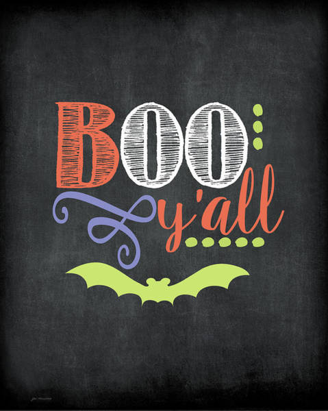 Boo Wall Art - Painting - Boo Y'all by Jo Moulton