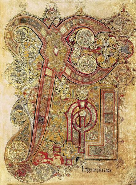 Manuscript Wall Art - Photograph - Book Of Kells. 8th-9th C. Chapter by Everett