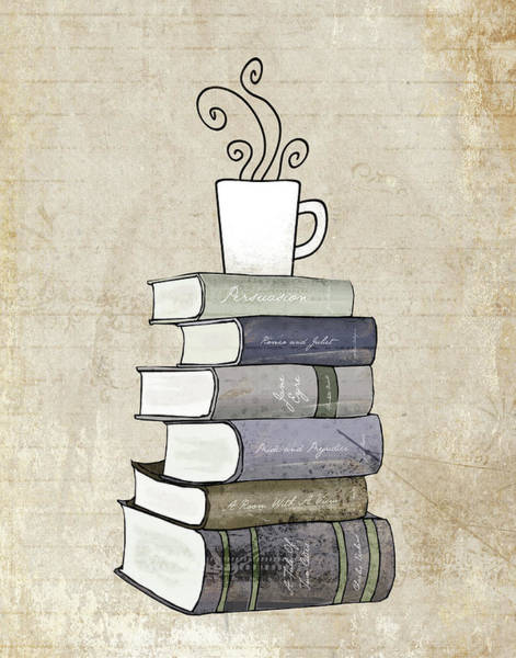 Books Wall Art - Painting - Books And Coffee Print by Amy Cummings
