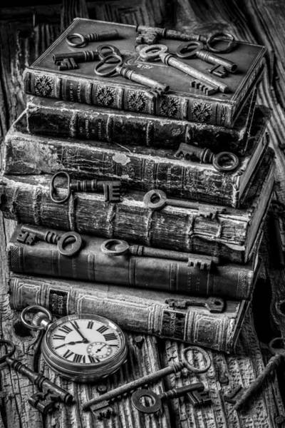 Skeleton Key Photograph - Books And Keys Black And White by Garry Gay