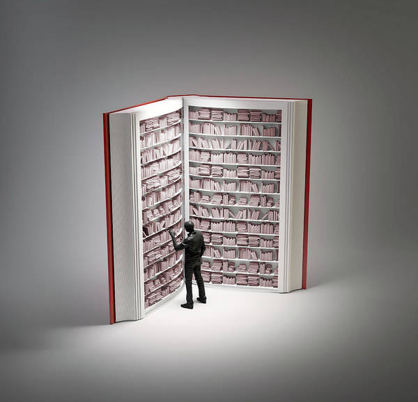 Wall Art - Photograph - Bookshelves In Book With Human Figure by Andrzej Wojcicki/science Photo Library