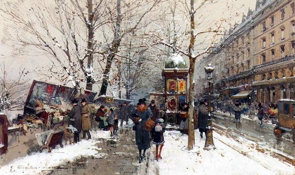Snow Bank Painting - Bookstalls In Winter Paris by Eugene Galien-Laloue