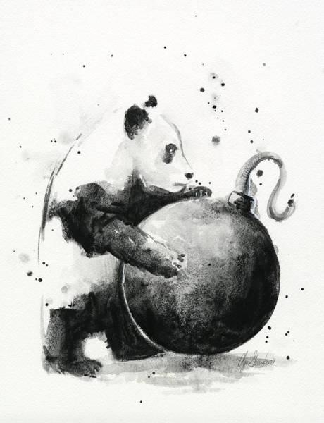 Cannon Wall Art - Painting - Boom Panda by Olga Shvartsur