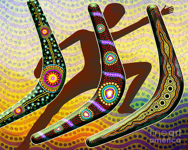 African Tribal Digital Art - Boomerang 2 by Peter Awax