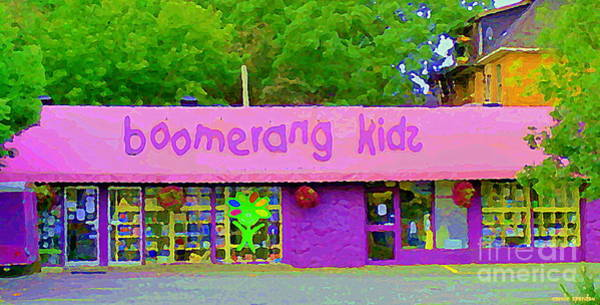 Painting - Boomerang Kids Baby Store Kiddies Clothing Consignment Shop The Glebe Paintings Of Ottawa C Spandau by Carole Spandau